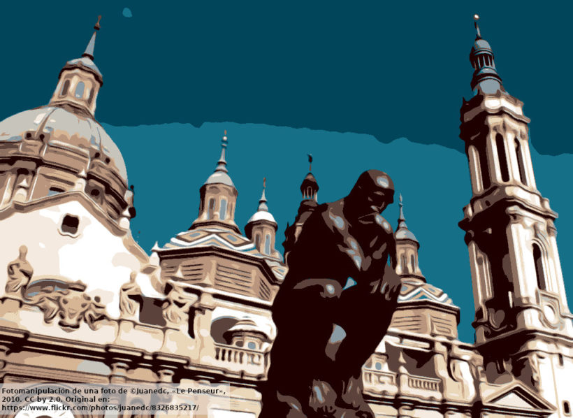 El Pensador en Zaragoza (fotomanipulación)
