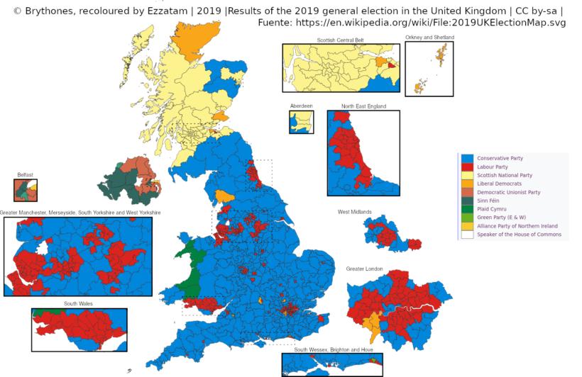 Mapa de RU con el resultado de 2019