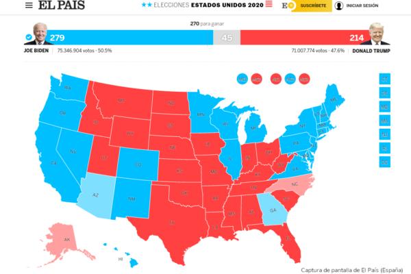 Captura de pantalla de El País con el resultado electoral en Estados Unidos de 2020