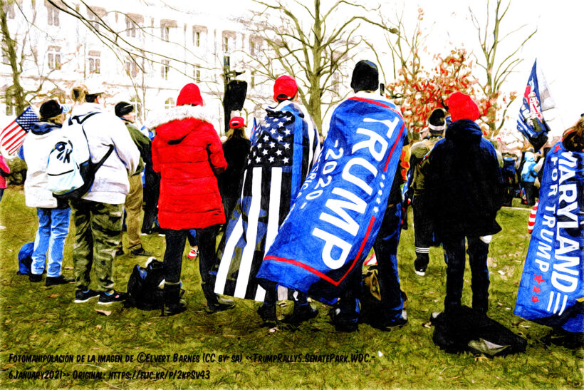 Fotomanipulación de esta imagen: https://flic.kr/p/2kpSv43 TRUMP RALLY at Lower Senate Park near C Street between Delaware Avenue and First Street, NE, Washington DC on Wednesday morning, 6 January 2021 by Elvert Barnes Photography