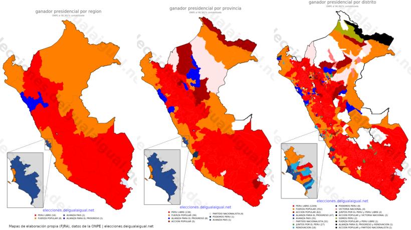 Resultado primera vuelta presidencial en Perú (87 %)