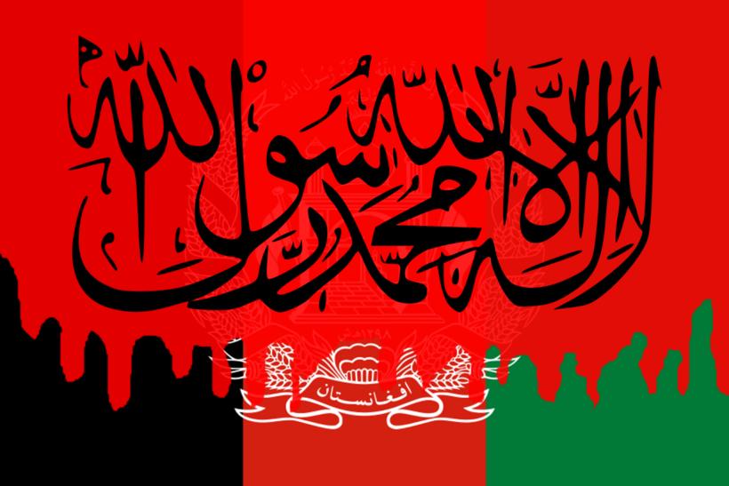 Bandera de Afganistán con sangre encima y la bandera del Emirato Islámico superpuesta.