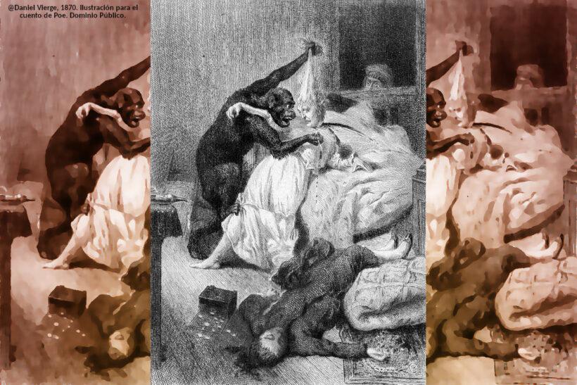 Ilustración para el cuento de Asesinato en la Calle Morgue de Poe por parte de Daniel Urrabieta